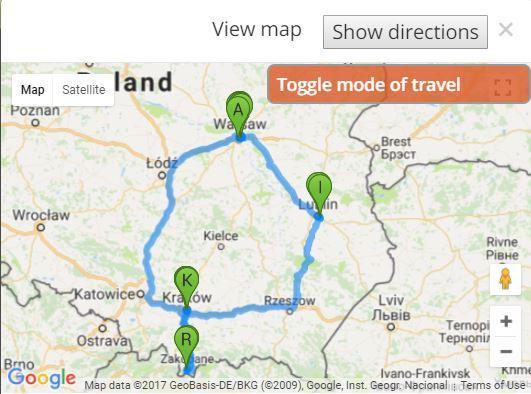 מפת טיול בפולין